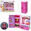 Игрушечная мебель для кукол  кухня со звуком и светом (плита, холодильник с аксессуарами) - Фото