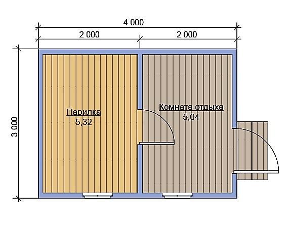 План дерев'яної лазні 4х3 без веранди