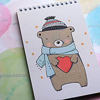 Блокнот на пружині - Ведмедик в шапці