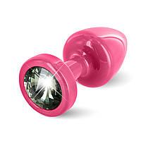 Анальная пробка со стразом Diogol ANNI round pink Карбонадо 25мм, фото 1