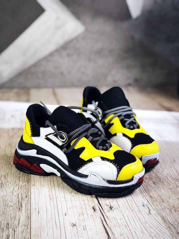Модные кроссовки из натуральной кожи 36-40 р жёлтый+чёрный