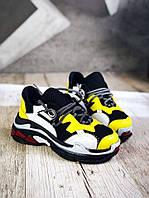 Модные кроссовки из натуральной кожи 36-40 р жёлтый+чёрный, фото 1