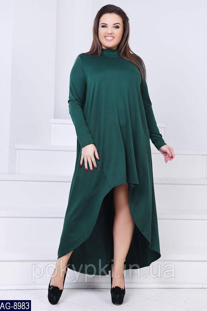 bfb1b969278 Модное женское платье балахон с длинным рукавом на полных дам цвет  бутылочный