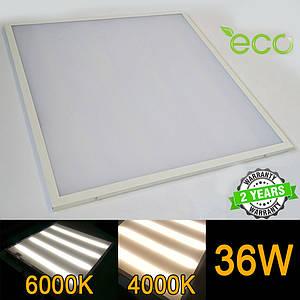Светодиодная LED панель НАКЛАДНАЯ И ВСТРАИВАЕМАЯ 2В1 600x600 мм 36Вт 4000-4500K/6000-6500K OPAL серия ECO