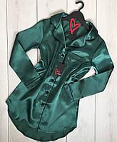Изумрудное платье рубашка с кантом