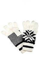 (Бело-Чёрный) Перчатки вязанные женские с узором 254V004-1