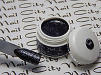Глитерный гель лак черный с блестками