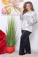 22be5f26aa75 Женский велюровый домашний костюм больших размеров (рр 48-94) серый+темно-