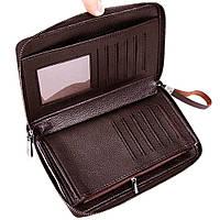 Классический мужской клатч Черный, коричневый POLO, фото 2