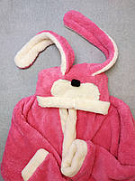 """Махровый халат с ушками """"Зайка""""  розовый подростковый  опт/розница, фото 1"""
