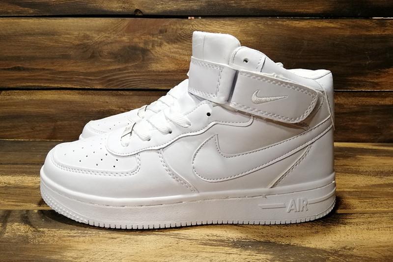 1680c013 Кроссовки женские найк эйр форс 1 белые кожаные (реплика) Nike Air Force 1  White