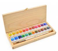 Набор акварельных красок БЕЛЫЕ НОЧИ 24 цвета, с кисточкой, кюветы, дерево