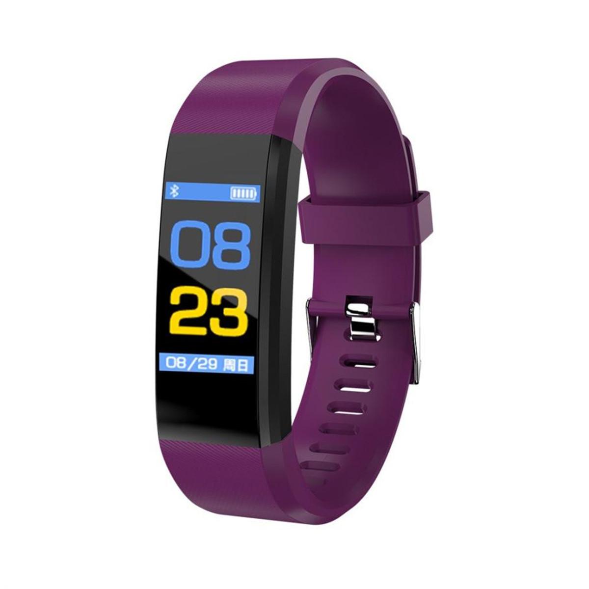 Фитнес браслет Smart Band 115 PLUS фиолетовый. Давление, пульс. Фитнес трекер. Шагомер. Часы.