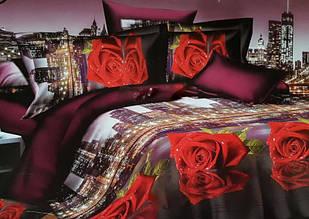 Постельное белье бязь голд люкс семейный комплект с принтом красных роз.
