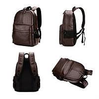 Городской мужской рюкзак Черный, коричневый, фото 2