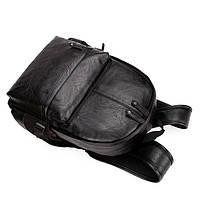 Городской мужской рюкзак Черный, коричневый, фото 4