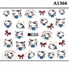 Наклейки для Ногтей Водные Детская Серия А1366 Котики и Кошечки, Пластина  6,5 х 5 см