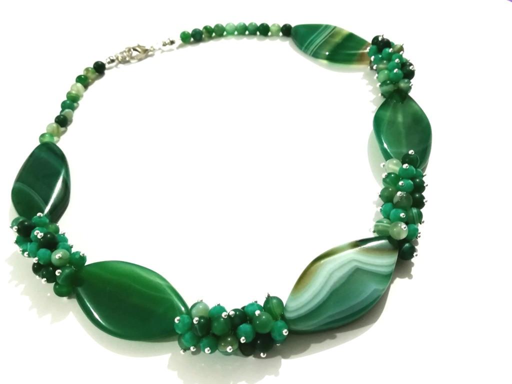 Колье из Агата Панянка, натуральный камень цвет зеленый и его оттенки, тм Satori \ Sk - 0100