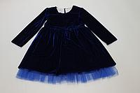 Нарядное велюровое платье с синим фатином на девочку