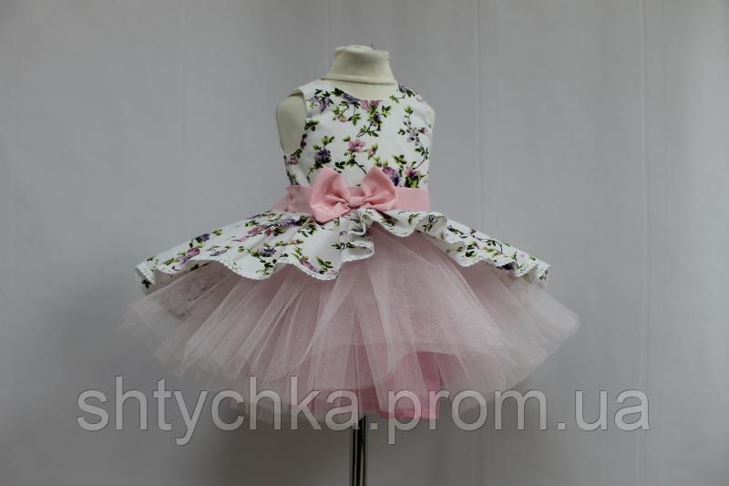 """Нарядное платье на девочку """"Цветочное настроение""""  модель № 2 без с нежно розовым фатином"""
