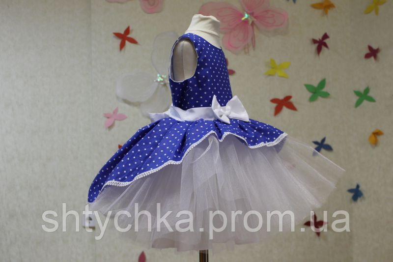 """Нарядное платье на девочку """" Синяя горошинка"""" модель № 2"""