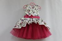"""Нарядное платье на девочку """"Цветочное настроение"""" модель № 2 без с малиновым фатином"""