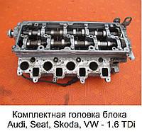 Головка блока цилиндров на VW Polo 1.6 TDi, Фольксваген Поло 1.6 тди, б/у ГБЦ с валами