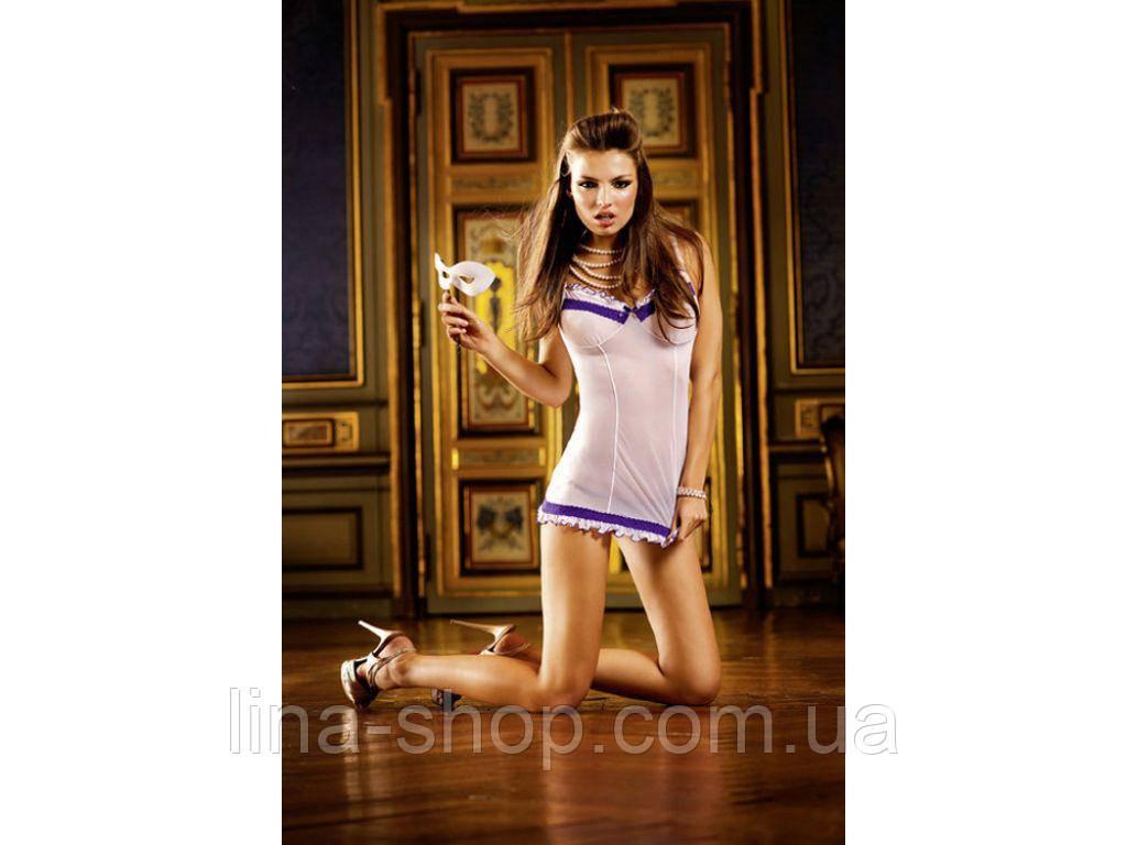BACI - Пеньюар White-Purple Ruffled Nightgown (B304-WHITE PURPLE-OS)