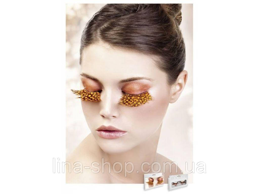 Baci Eyelashes - Реснички Yellow-Brown Feather Eyelashes (B635)