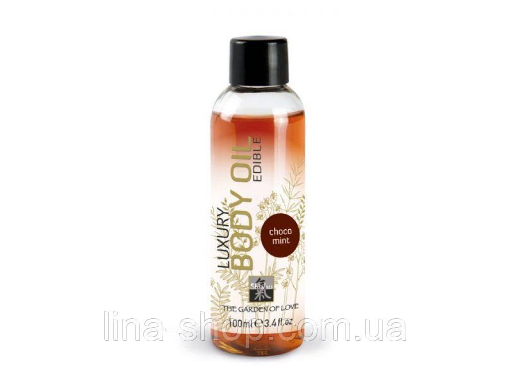 HOT - Съедобное масло для тела HOT-SHIATSU с ароматом Шоколада и мяты, 100 мл (H66019)