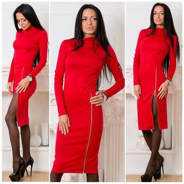 Приталенное платье в расцветках с молнией на юбке d-5plt1340