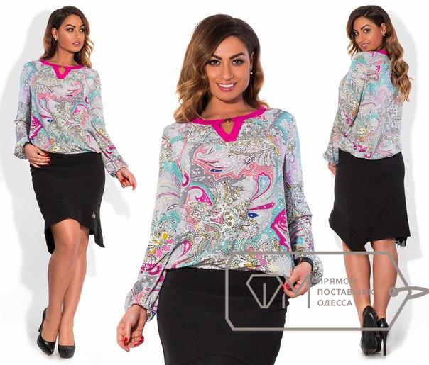 Женская легкая красивая блуза в больших размерах (разные принты) w-15blr435