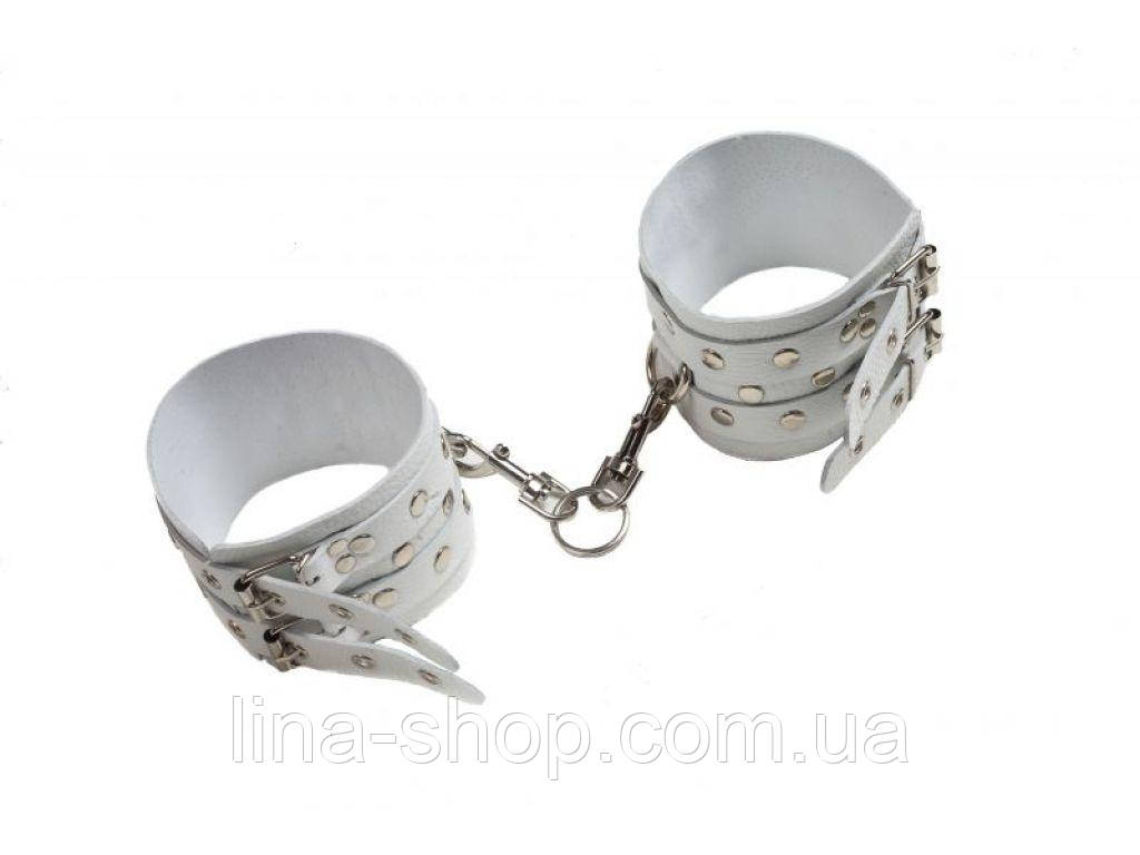 SLash - Оковы Leather Double Fix Leg Cuffs, WHITE (280192)