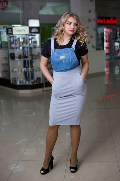 Женский стильный комбез в больших размерах из двунитки и джинса j-10blr489