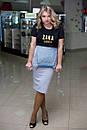 Женский стильный комбез в больших размерах из двунитки и джинса j-10blr489, фото 3