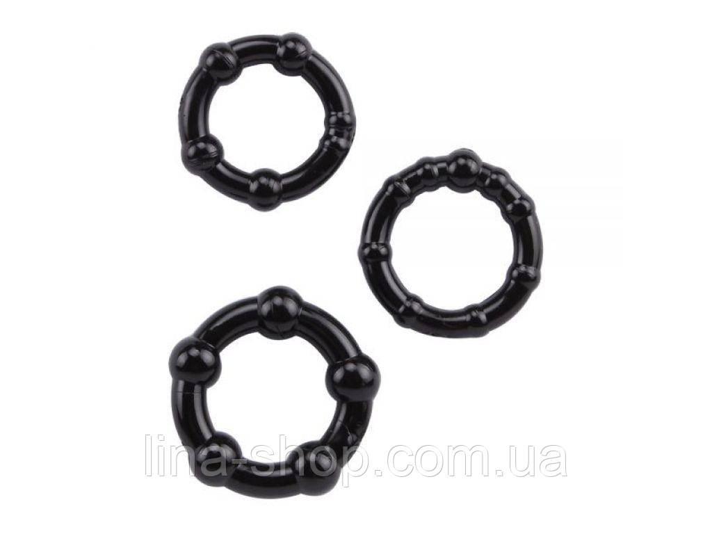 Chisa - Набор колец Beaded Cock Rings-Black (291005)