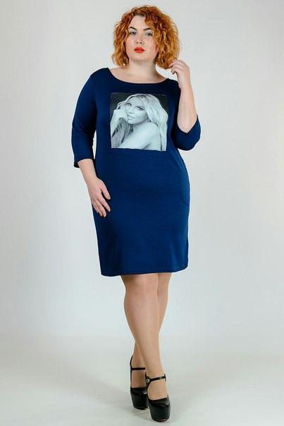 Женское платье большого размера с рукавом 3/4 q-30blr1014