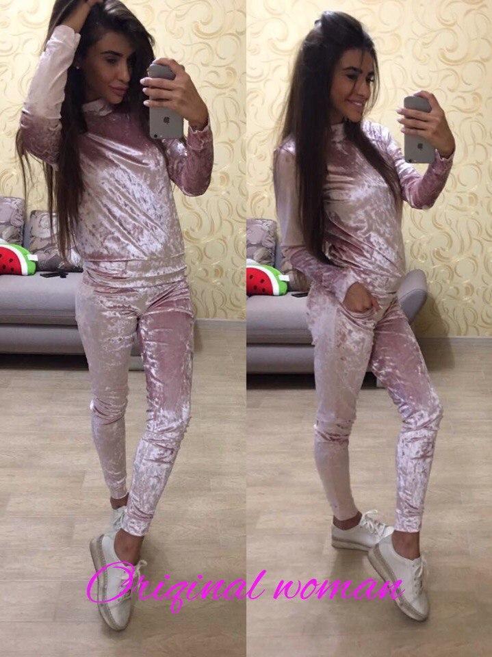 Женский велюровый спортивный костюм в расцветках w-2spt333