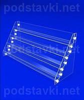 Подставка для косметики Горка для лаков для ногтей 4 ступени по 30 мм, акрил 1.8, габариты (ШхВхГ) 458х220х152 мм (KM-49)