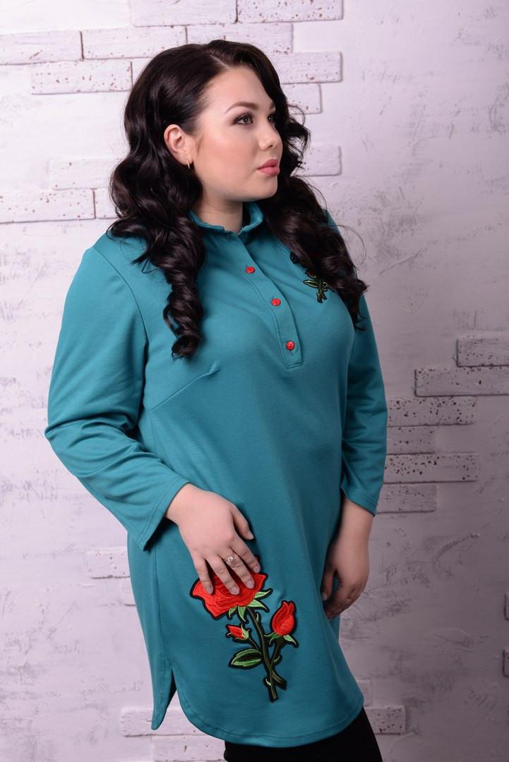 Женская рубашка туника в больших размерах v-t10blr1229