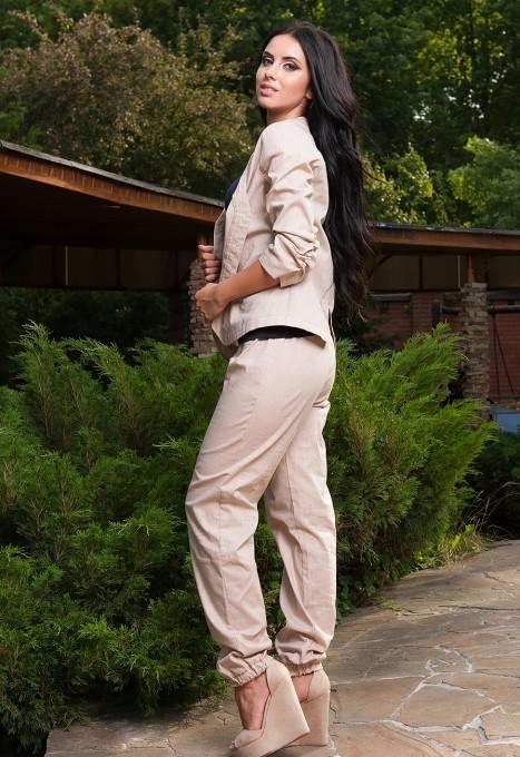 Стильный женский льняной костюм у-t61kos564