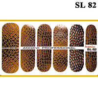 Наклейки для Ногтей Ноготки PhotonailArt Водные Разноцветные, Малая Пластина, Angevi SL 82 Кожа