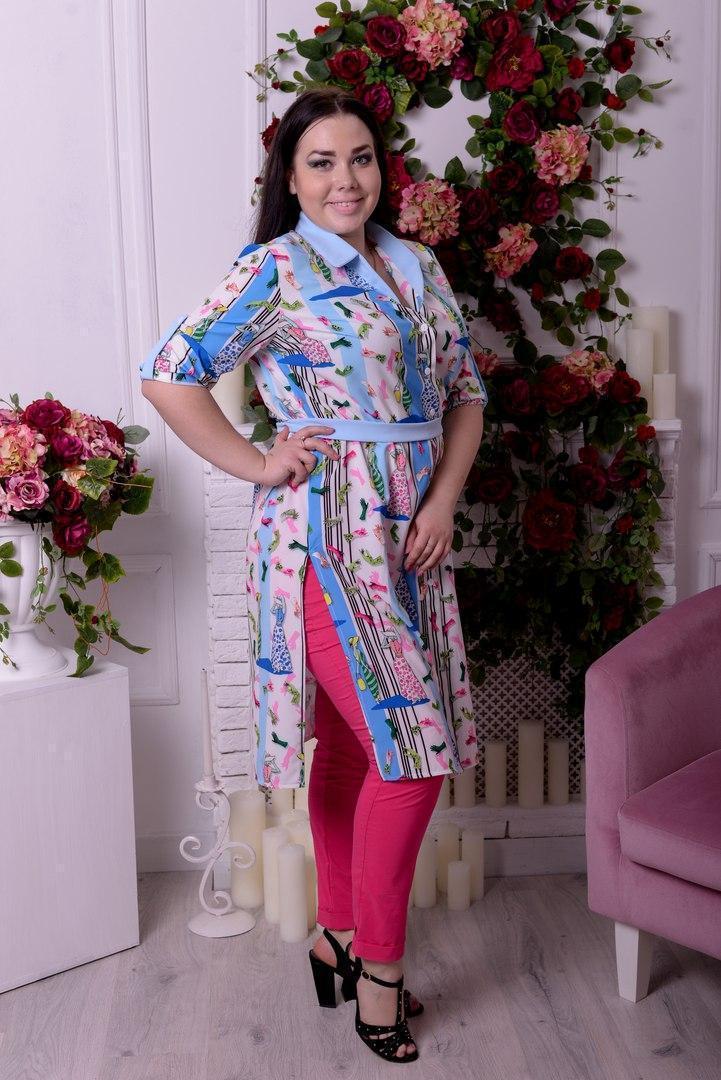 Женская удлиненная блузка большого размера к-t10blr1302
