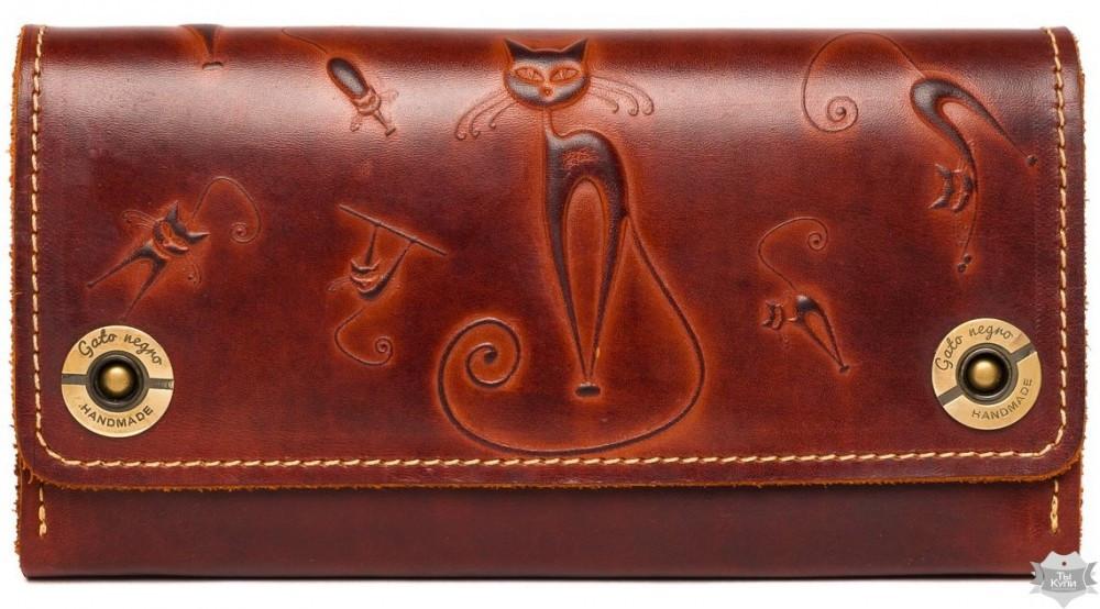 7de011202b9a Женский кошелек ручной работы Gato Negro Alfa Big Catswill коричневый -  Arion-store - кожгалантерея