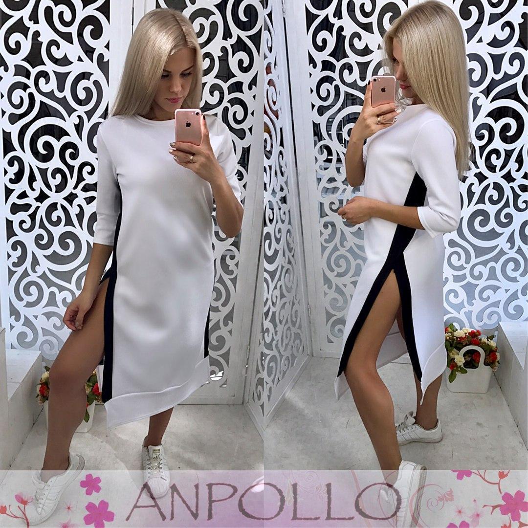 Прямое платье ниже колена с разрезами побокам 17plt129