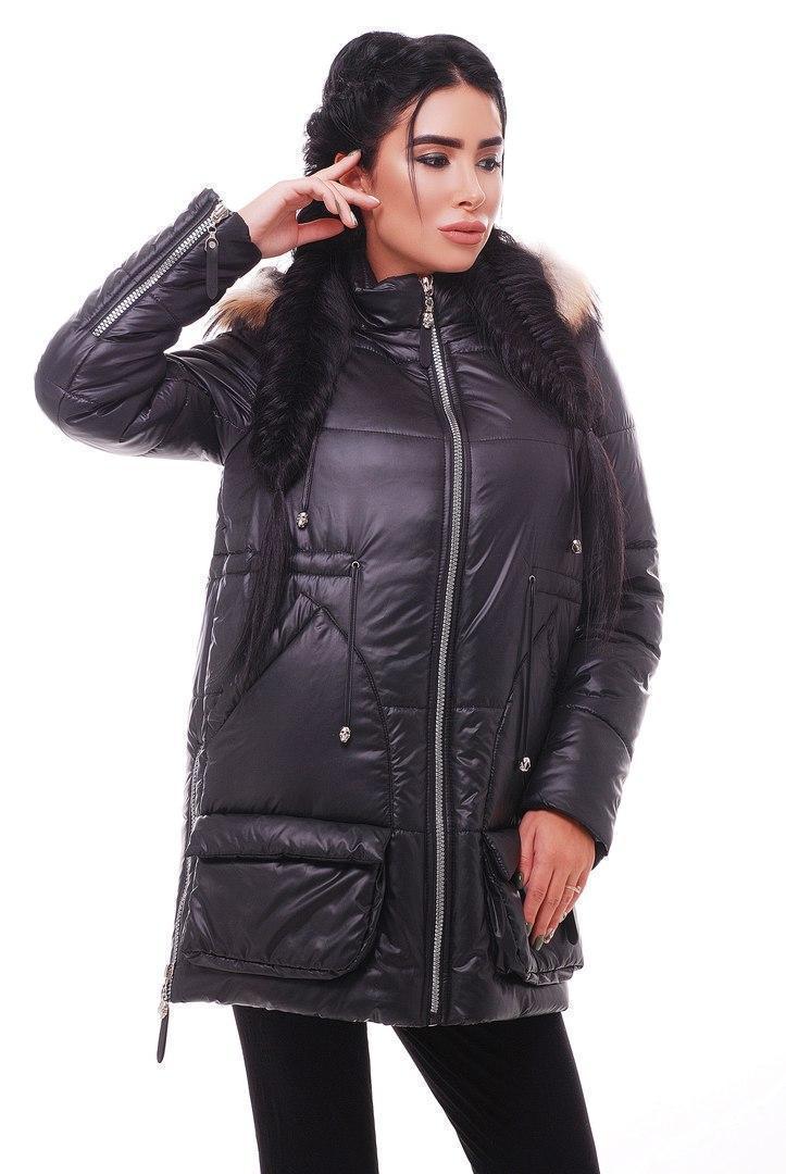 Женская зимняя теплая куртка с капюшоном и меховой опушкой 31kur9