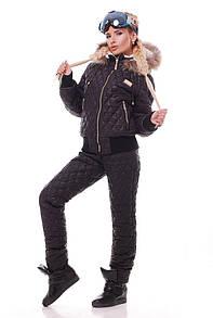 Женский зимний стеганный костюм с мехом в расцветках 31grk2