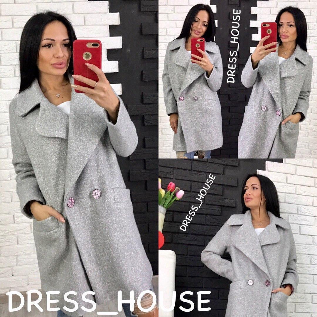 Женское пальто оверсайз из шерсти букле в расцветках 5pal15