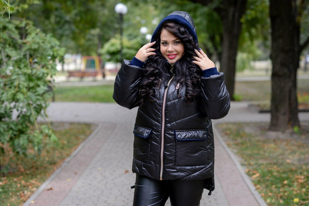 Женская зимняя куртка прямого кроя в больших размерах 10blr185