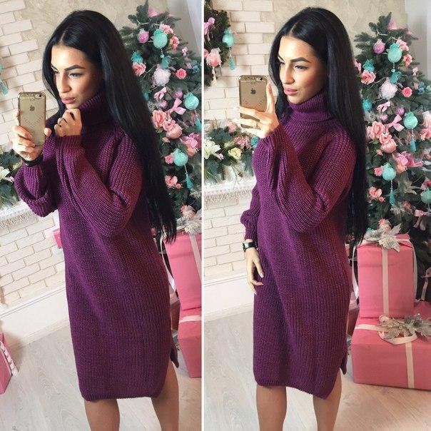 Теплое вязаное платье с высокой горловиной 41plt212